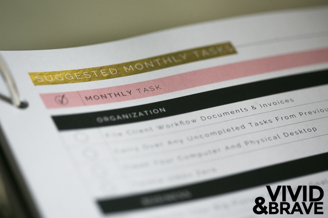 Suggested Monthly Tasks - Design Aglow Big Picture Planner