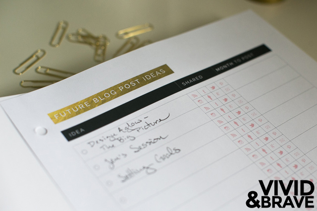 Future Blog Posts - Big Picture Planner from Design Aglow - Customized Page