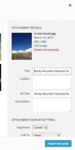 Close up image of where to edit the ALT and Title text for your images in WordPress to set the text for Pinterest pins.
